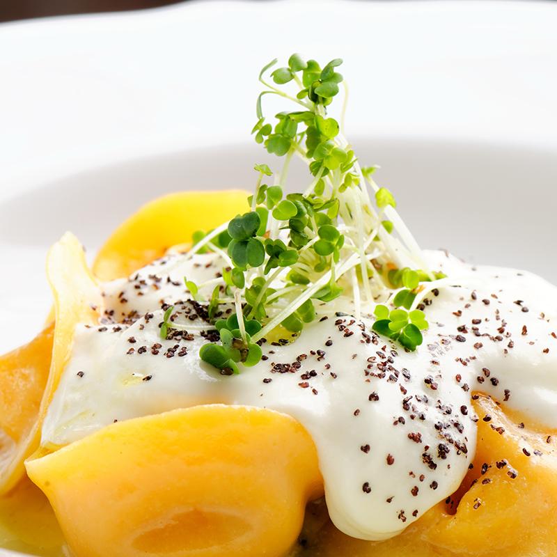 Tortelloni gefüllt mit Ricotta und Spinat in Süßrahmsauce